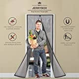 Jerrybox Magnet Fliegengitter Tür 110×220cm Insektenschutz Tür, Automatisches SchließenMagnetischer Fliegenvorhang Moskitonetz, einfach zu montieren Ohne Bohren, für Balkontür/Terrassentür