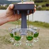 Cocktail-Bar-Shot-Spender zum Befüllen von Flüssigkeiten – 6 Schnapsglas-Spender und Halter, mehrere 6 Schnapsspender, eisgekühlte Getränkespender (grau)