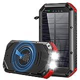 ORITO Powerbank Wireless 30000mah, PD USB C Schnellladung Solar Powerbank mit 5 Ports, Qi Powerbank mit Dual 1W LED Licht Extrem, Outdoor Solar Akkupack für iPhone, Samsung, Huawei, iPad (983)