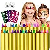 Gesichtsfarbe, 36 Farben Kinderschminke Set,Gesicht Körper Malerei Kits Sicher und Ungiftig Kinderschminke Ideal für Partys Mädchen, Schablonen, Gesichtsfarben, Halloween & Fasching, Kinderschminke