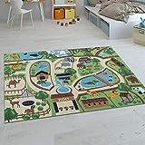 Paco Home Kinder-Teppiche, Kurzflor-Teppiche für Kinderzimmer mit vers. Designs Spielteppiche Bunt, Grösse:140x200 cm, Farbe:Beige
