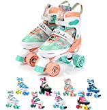 meteor® Retro Rollschuhe: Disco Roller Skate wie in den 80er Jahren, Jugend Rollschuhe, Kinder Quad Skate, 5 Verschiedene Farbvarianten, Einstellbare Größe des Schuhs (M 35-38, Shake)