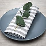 FILU Servietten 8er Pack Grau/Weiß gestreift (Farbe und Design wählbar) 45 x 45 cm - Stoffserviette aus 100% Baumwolle im skandinavischen Landhausstil