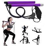 GIKERSY Pilates Stangen Set, mit Widerstandsband, tragbare Yoga Stange, mit Fußschlaufe, für Sport, Fitness, für Zuhause, Fitnessstudio, Training, Fitnessgerät, Brust-Expander und Armabzieher