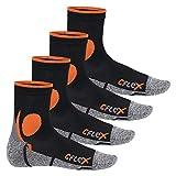 CFLEX Damen und Herren Running Funktions-Socken (4 Paar) Laufsocken - Schwarz-Orange 39-42