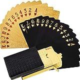 Sumind 2 Decks Schwarz und Gold Spielkarte wasserdichte Pokerkarten Kunststoff PET Pokerkarte Neuheit Poker Spiel Werkzeuge für Familien Kartenspiel Party