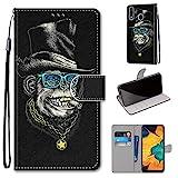 Miagon Flip PU Leder Schutzhülle für Samsung Galaxy A20/30,Bunt Muster Hülle Brieftasche Case Cover Ständer mit Kartenfächer Trageschlaufe,Affe