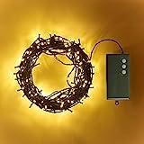 Lights4fun 200er LED Lichterkette warmweiß grünes Kabel Timer Innen Außen