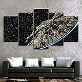 BIHUAHE Wandbilder Segeltuch gedruckt Star Wars Zerstörer Millennium Falcon Bilder Poster 5 Panel Wandmalerei für Zuhause Büro Dekoration,A,30×40×2+30×60×2+30×80×1