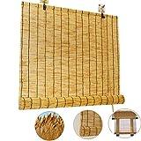 NIANXINN Bambusrollo Raffrollo,Vintage-Dekoration Bambus-Rollo - Vorhänge,Bambus-Reed Vorhänge mit Lifter,wasserdichte Sonnenschutz-Rollläden für Den Außenbereich/Patio/Tür (50x80cm/20x32)