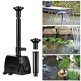 YAOBLUESEA 800L/h 16W Garten Springbrunnenpumpe Teichpumpe Wasserspielpumpe Bachlaufpumpe Wasserpumpe Fontäne