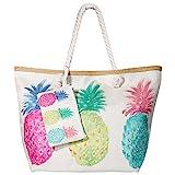 MOOKLIN Große Strandtasche mit Reißverschluss Sommer TascheVerschluss Damen Shopper Tasche Schultertasche Schwimmbad Badetasche Umhängetasche Beach Bag - Ananas