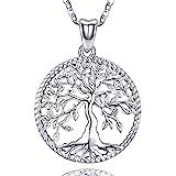 Friggem 925 Sterling Silber Halskette, Zierlicher Baum Des Lebens Anhänger für Damen Frauen Mädchen mit Geschenkbox, Kettenlänge 46 cm (Immergrüner Baum)