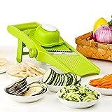 LEKOCH Manuelle Multi Gemüseschneider Gemüsehobel Trommelreibe Käsemühle Mit 3 Edelstahl Trommeleinsätze (Grün 2)