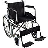 Mobiclinic, Rollstuhl, Faltrollstuhl, Modell Alcazaba, selbstfahren, ergonomischer Sitz und Rückenlehne, Schwarz, Sitzbreite 46 cm
