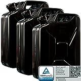 Oxid7 3X Benzinkanister Kraftstoffkanister Metall 20 Liter Schwarz mit UN-Zulassung - TÜV Rheinland Zertifiziert - Bauart geprüft - für Benzin und Diesel