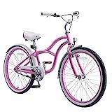 BIKESTAR Jugendfahrrad Kinderfahrrad für Jungen und Mädchen ab 9 Jahre   24 Zoll Kinderrad Cruiser   Fahrrad für Kinder Pink   Risikofrei Testen