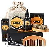 Bartpflege Set, Fixget Bartpflege set für Männer Wildschweinborsten Bartbürste Bartkamm & Bartöl & Beard Balm & Bartschere & Canvas Reisetasche, ideales geschenkset herren (5 pcs)