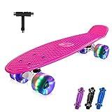 BELEEV Skateboard 22 Zoll Komplette Mini Cruiser Skateboard für Kinder Mädchen Jugendliche Erwachsene, Led Leuchtrollen mit All-in-one Skate T-Tool für Anfänger (Rose Pink)