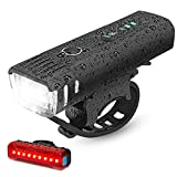 IPSXP Fahrradlicht LED Set - USB Wiederaufladbare Fahrradlichter Fahrradlampe mit Automatischem Lichtsensor - Wasserdicht Frontlicht Rücklicht Fahrradbeleuchtung