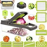 ROVE Gemüseschneider Set 11 in 1 Zwiebelschneider Obstschneider Kartoffelschneider Hand Gemüsehobelfür Gemüsespaghetti Karotte, Gurke, Kartoffel, Kürbis, Zucchini, Zwiebel (Grau