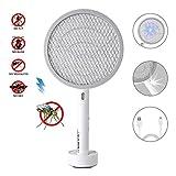 Deckey Elektrische Fliegenklatsche Insektenvernichter Fliegenfänger Moskito Mücken Mörder USB wiederaufladbar mit LED Beleuchtung 3000 V 1200mA für Drinnen und Draußen. (Weiß)