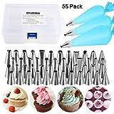 NEXGADGET 55 Teiliges Spritztüllen Set - 48 Edelstahldüsen + 3* Silikon-Spritzbeutel + 3* Koppler, BackzubehörTorten Dekoration Set für Cupcakes