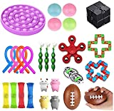 Sensorische Fidget Spielzeug Angst Ball Werkzeug-Set Anti Stress Relief Spielzeug Stressball Kind Erwachsene Person, Sinnes Ball, Marble Push-Pop Squeeze Blase Ineinander greifen-Kugel (27Pc Toy BK)