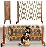 Treppenschutzgitter für Hunde - Absperrgitter Hund - Türschutzgitter - Hundeschutzgitter - Hundebarrieren - verstellbar Trennwand - ohne Bohren - 30-117cm breit - aus Holz