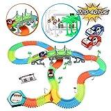 infinitoo Autorennbahn, Magic Trucks Auto Spielset, Inclusive 220 Stück Tracks & 2 E-Autos & 40 Zubehör, Rennbahn Racetrack Spielset für Kinder ab 3 Jahre alt