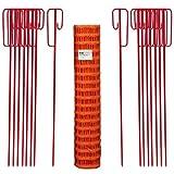 UvV Fangzaun Set Orange 50m 7,5kg +16 rot lackierte Absperrleinenhalter für Baustellen Absperrzaun