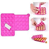Itian Silikon Cake Pop Backform,20 runde Formen Silikon Lollipop Form Tablett Cake Silikonform für Cupcake Stick Party Urlaub Backen (Rosa)