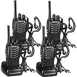 Nestling Funkgeräte Set,Walkie Talkie 16 Kanäle in beiden Richtungen,Handfunkgerät Eingebauter LED Taschenlampe mit USB Anschluß und Headset(4er Set)