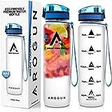 AROGUN Premium Trinkflasche - 1L, Wasserflasche Auslaufsicher, Sportflasche BPA-Frei, mit Fruchteinsatz, Zeitmarkierung/Uhrzeit, Durchsichtig, Schule, Sport, Fahrrad, Outdoor, Büro