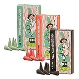 OLShop AG 3er Pack Knox Räucherkerzen Ostalgie Design Tanne, Weihrauch-Myrrhe, Weihrauch-Sandel, 3 x 24 Stück, Weihnachtskerze, Räucherkegel, Räucherpyramide