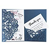 Hochzeitseinladung Hochzeit Einladungskarten Tri-Fold Hohl Business Einladungskarten , 20 Stück Glückwunschkarte Grußkarte Einladungkarte, auch für Taufe,Geburtstag,Kommunion,Weihnachten, Neujahr
