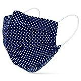 tanzmuster ® Behelfsmaske waschbar für Erwachsene - 100% Baumwolle OEKO-TEX 100 mit Nasenbügel und Filtertasche - Community Maske handmade und wiederverwendbar 2-lagig dunkelblau weiß gepunktet M/L