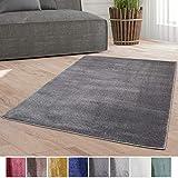 Taracarpet Weicher Kurzflor Designer Teppich modern für Wohnzimmer, Schlafzimmer, Kinderzimmer und Arbeitszimmer dunkelgrau 060x090 cm