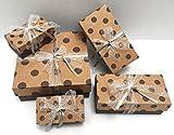 Geschenkkartons - 5 Geschenkboxen aus Pappe mit Deckel inkl. Geschenkband - Geschenkverpackung für Geburtstag, Hochzeit, Weihnachten