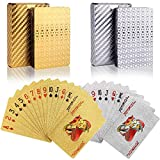 wdede Spielkarten 2PCS wasserdichte Poker Karten Kunststoff Pokerkarten Spielkarten Spiele Kinder & Erwachsene Familienparty Spiel Playing Cards (Gold & Silber)