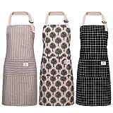 Veraing 3 Stück Schürze, Baumwolle Leinen Kochschürze Wasserdicht Verstellbare Küchenschürze mit Taschen Damen und Männer zum Kochen oder Backen beige