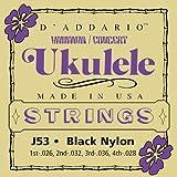 D'Addario J53 Satz schwarze Nylonsaiten für Ukulele, Dulcimer, Tenor Gitarre, Oud