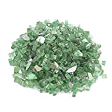 Reflektierendes Feuerglas mit hohem Glanz, Feuersteine, zerkleinerte Steine, Glas für Feuerstelle, Gartendekoration, 620 g (grün reflektierend)