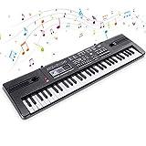 RenFox Tastatur Klavier 61 Schlüssel Digital Piano Elektronische Klaviertastatur Einsteiger Tragbarer Elektronischer Tastatur mit Mikrofon,Spielzeugtastatur, Jungen und Mädchen Geschenk (Schwarz)