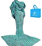 Meerjungfrau Decke, Handgemachte häkeln meerjungfrau flosse decke für Erwachsene, Mermaid Blanket alle Jahreszeiten Schlafsack Bestes Geschenk für sie (180 grün)