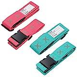 FORMIZON Koffergurt, 4 Stück Gepäckgurt Einstellbare Kofferband Travel Accessories Kofferband Gepäckband zum Sicheren Verschließen der Koffers auf Reisen und Kennzeichnen von Gepäck Grün und Rot