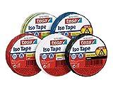 Tesa 56192 Iso Tape Isolierband für Elektrik 10m x 15mm, Alle 5 Farben, 5er Spar-Pack