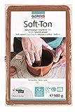 GLOREX 6 8075 137 - Soft Ton terracotta 500 g, natürlicher, besonders weicher und geschmeidiger Ton, lufthärtend und für Brennofen geeignet, sehr gut für Kinder geeignet
