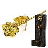 mikamax - Goldene Rose - Echte Rose Eingetaucht in Gold - 30 cm - Goldrose 24 Karat Echtheitszertifikat - Luxuriöse Geschenkverpackung