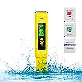 PH Messgerät, Digital PH Wert Messgerät, ATC Wasserqualität Tester für Trinkwasser/Schwimmbad/Aquarium/Pools, PH Tester mit LCD Display, ±0.01pH Automatischer Kalibrierungsfunktion- Gelb